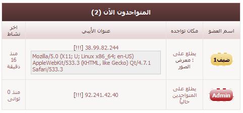 هاك إضافة معلومات نظام ومتصفح الزائر على صفحة المتواجدين الآن