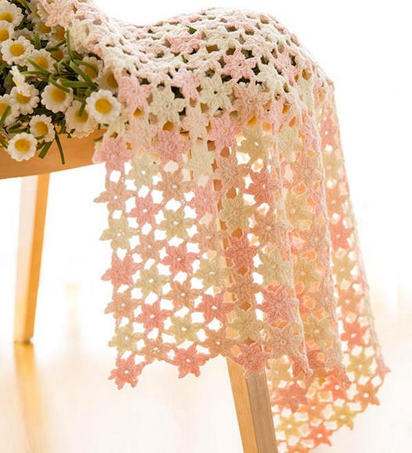 Crochet blanket free pattern and tutorial, Hexagon motif, 6-point-motif