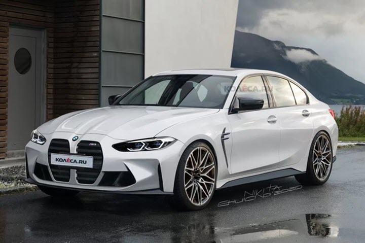 BMW M3 2021 lộ thiết kế lưới tản nhiệt khổng lồ giống 4-Series