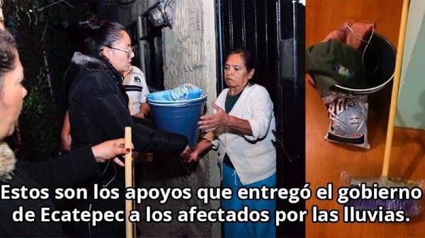 Escoba y cubeta, lo que entregó Gobierno de Ecatepec a afectados por lluvias.
