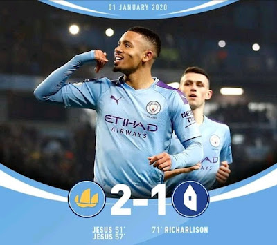 Brazilian striker Gabriel Jesus heroics proved to be the game-changer as he scores twice for Man City to win 2-1 against Everton with Richarlison pulling one for the away team.