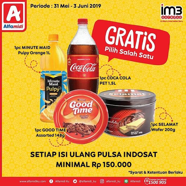 #Alfamidi - #Promo Isi Ulang Indosat Min 150K Dapat Gratis Produk (s.d 03 Juni 2019)