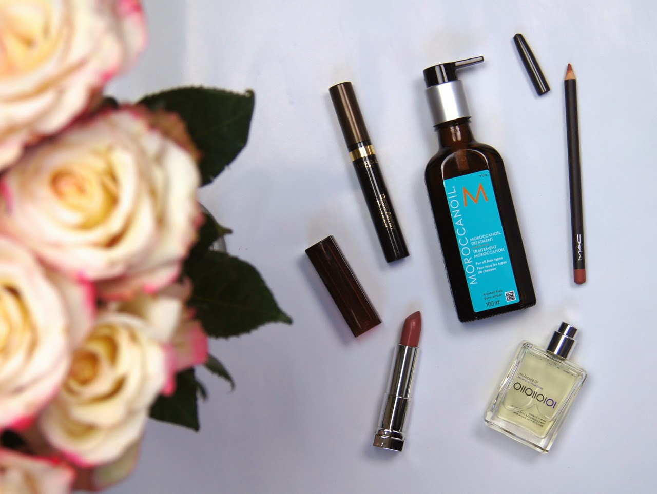 beauty favourites review swatches moroccan oil treatment eccentric molecules fragrance mac lipliner l'oreal brow tinted gel maybelline lipstick