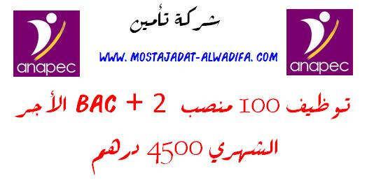 شركة تأمين توظيف 100 منصب  Bac + 2 الأجر  الشهري 4500 درهم