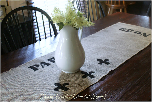 vintage ironstone pitcher hydrangeas farmhouse table stencilled burlap table runner