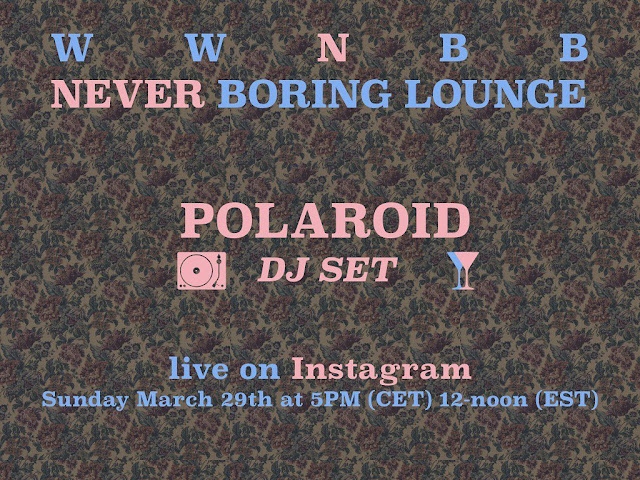 Live from a boring lounge - polaroid blog for WWNBB