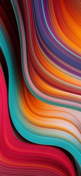 خلفية خطوط انسيابية تجريدية بتدرجات لونية حمراء