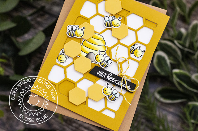 Sunny Studio Stamps: Just Bee-cause Frilly Frames Dies Just Because Card by Eloise Blue