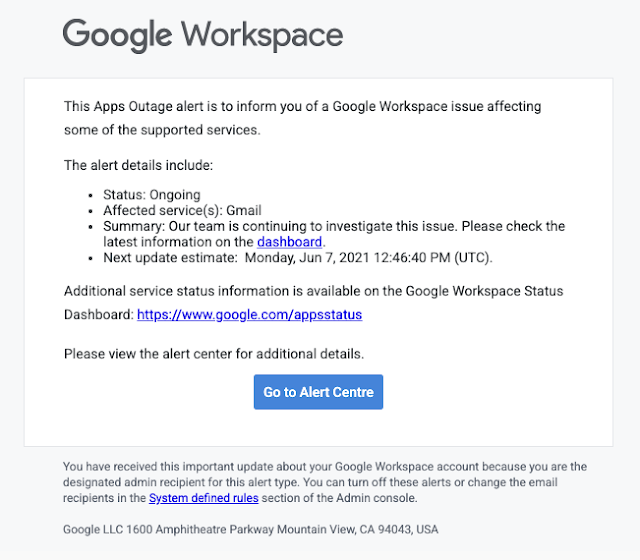 We've enhanced  email notification for Apps outages to include richer information, a status of the outage, and quicklinks to more information.