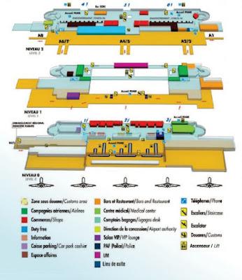 plan des 3 niveaux de l'aéroport de Pointe a Pitre