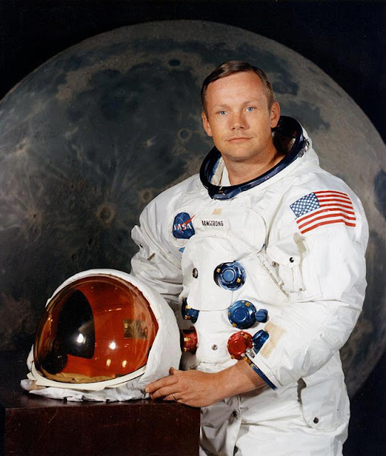 Neil Armstrong, the first man to walk on the moon, poses for his NASA portrait ahead of his historic Apollo 11 mission in July 1969