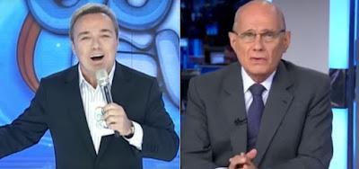 Gugu Liberato no programa Gugu e Ricardo Boechat na bancada do Jornal da Band; apresentadores morreram em 2019