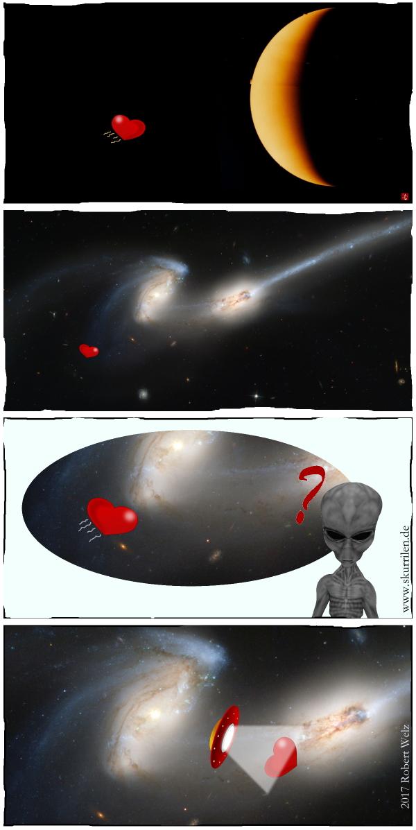 Venus, Planet, Sichel, Herz, Romantik, Fantasy, Science-Fiction, Alien, Außerirdischer, Galaxie, Comic, Collage