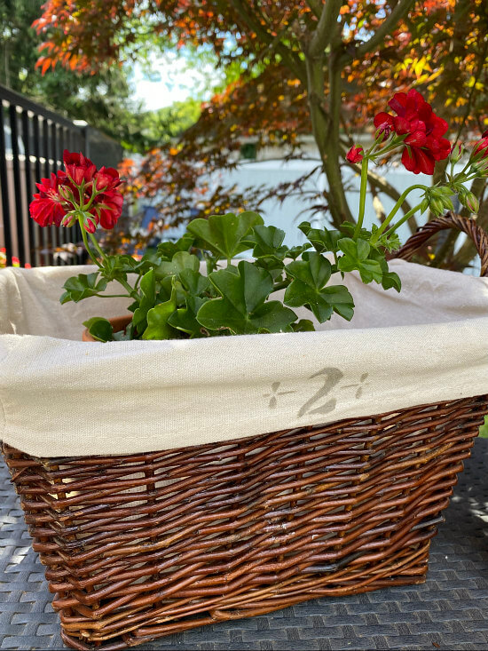 basket with numbered liner and geranium inside