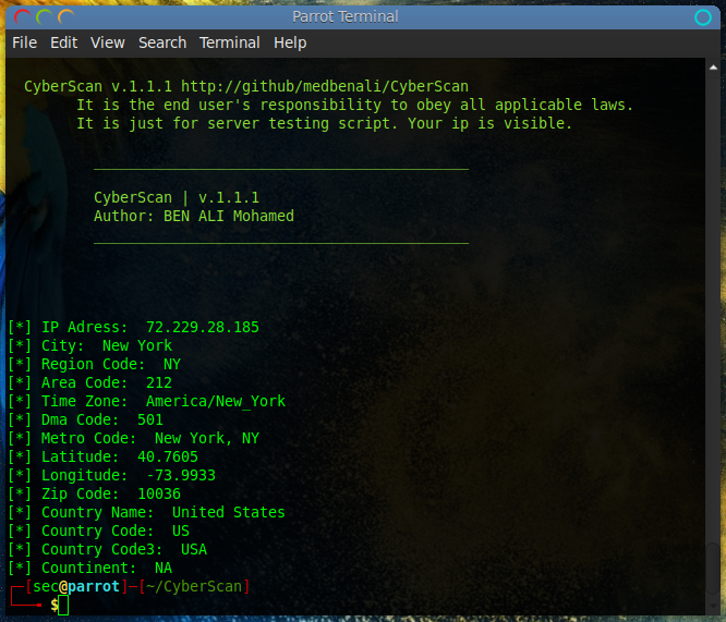 Penetration testing with CyberScan: Port Scanning & IP Geo