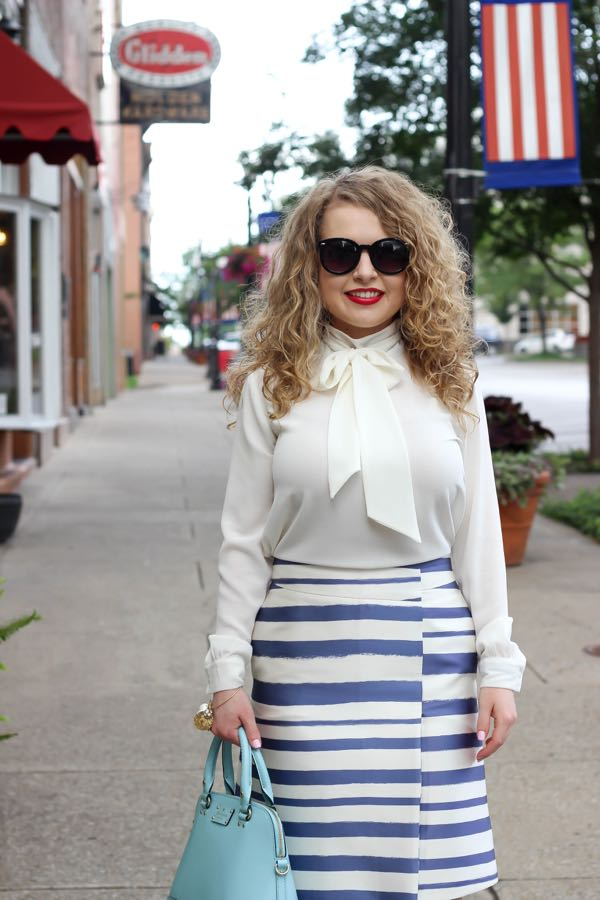 Blue and White Stripe Skirt