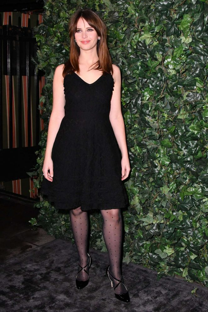 Felicity Jones wears chic LBD to the Harvey Weinstein Pre-BAFTAs Dinner in London