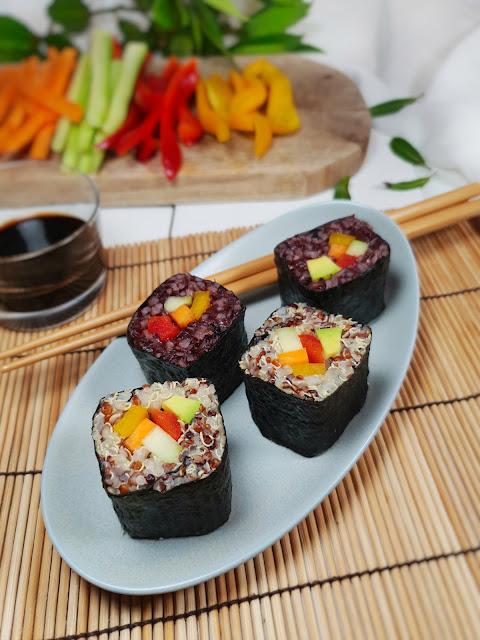 makis végétariens au riz noir et quinoa
