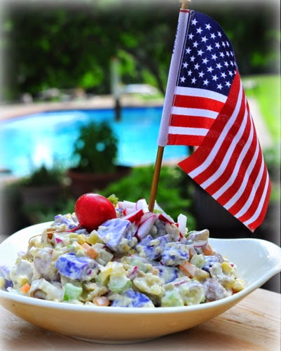 Red, White & Blue Potato Salad (red-skinned, white-skinned and amazing blue potatoes)
