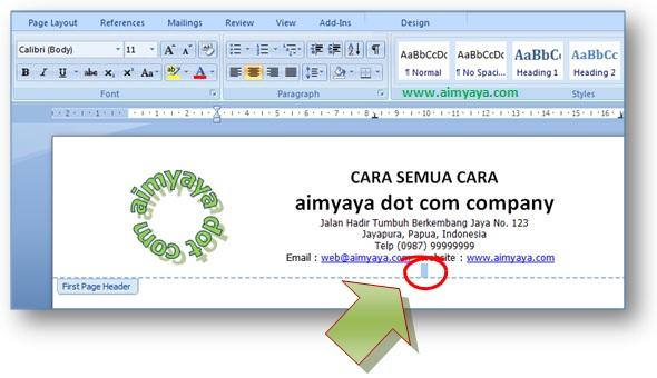 gambar pembuatan kop surat, memasukan logo dan nama serta alamat instansi / perusahaan
