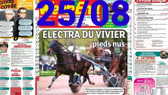 Pronostic quinté+ pmu Mercredi Paris-Turf TV-100 % 25/08/2021