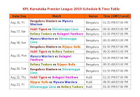 Karnataka Premier League 2019 Schedule & Time Table #KPL2019  #Schedule #KarnatakaPremierLeague2019  Teams : Bengaluru Blasters, Belagavi Panthers, Hubli Tigers, Bijapur Bulls, Bellary Tuskers, Shivamogga Lions, Mysuru Warriors,  KPL Karnataka Premier League 2019 Schedule & Time Table,KPL 2019 Schedule & Time Table,Karnataka Premier League 2019 Schedule & Time Table,Karnataka cricket matches,cricket calendar,t20 matches,2019 kpl schedule,fixture kpl 2019,kpl 2019 all teams & player squad,live score,live cricket streaming,Bengaluru,Belagavi,Hubli,Bijapur,Bellary,Shivamogga,Mysuru,Karnataka Premier League 2019,full schedule,all teams name,t20 cricket league,IPL 2019