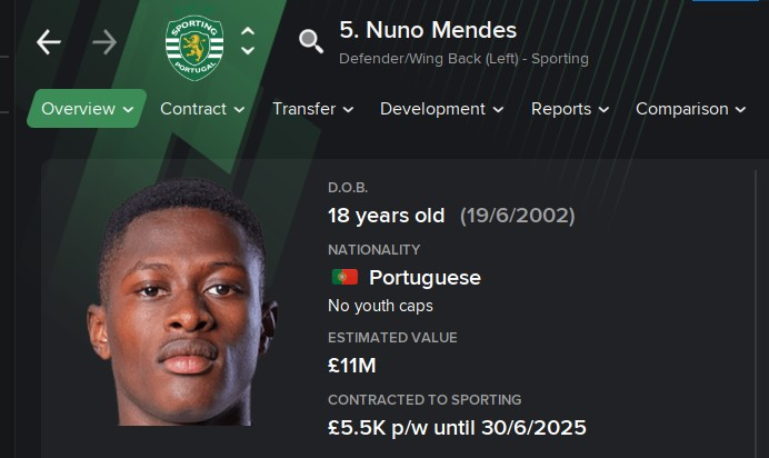 FM21 Wonderkid Nuno Mendes Sporting Portugal