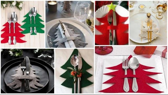 Xριστουγεννιάτικα Διακοσμητικά για Μαχαιροπήρουνα-Πετσέτες