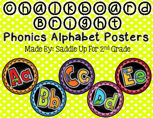 Chalkboard Bright Phonics Alphabet Posters by Saddle Up For 2nd Grade