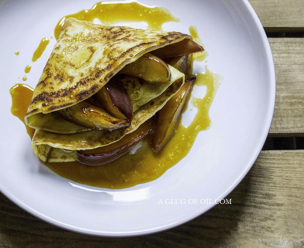 Pancakes and Caramelised Nectarines