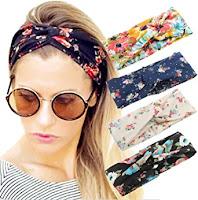 Pack Women Headband Boho Floral Style Criss Cross Head Wrap Hair Band