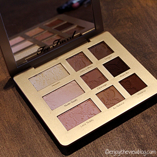 Too-Faced Natural Matte Eye Shadow palette on a wooden surface