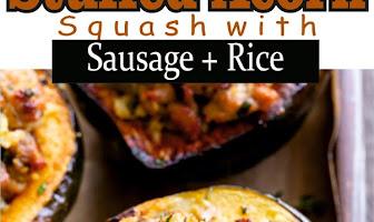 Stuffed Acorn Squash with Sausage + Rice