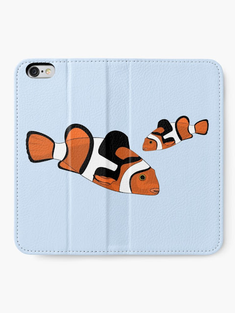 iphone wallet with vector drawing anemonefish