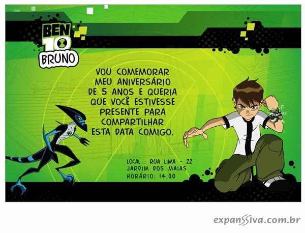 convite ben 10 1 - Convites de Aniversário Ben 10