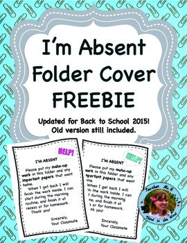Have a neighbor student use this to help keep student work organized while they are gone!