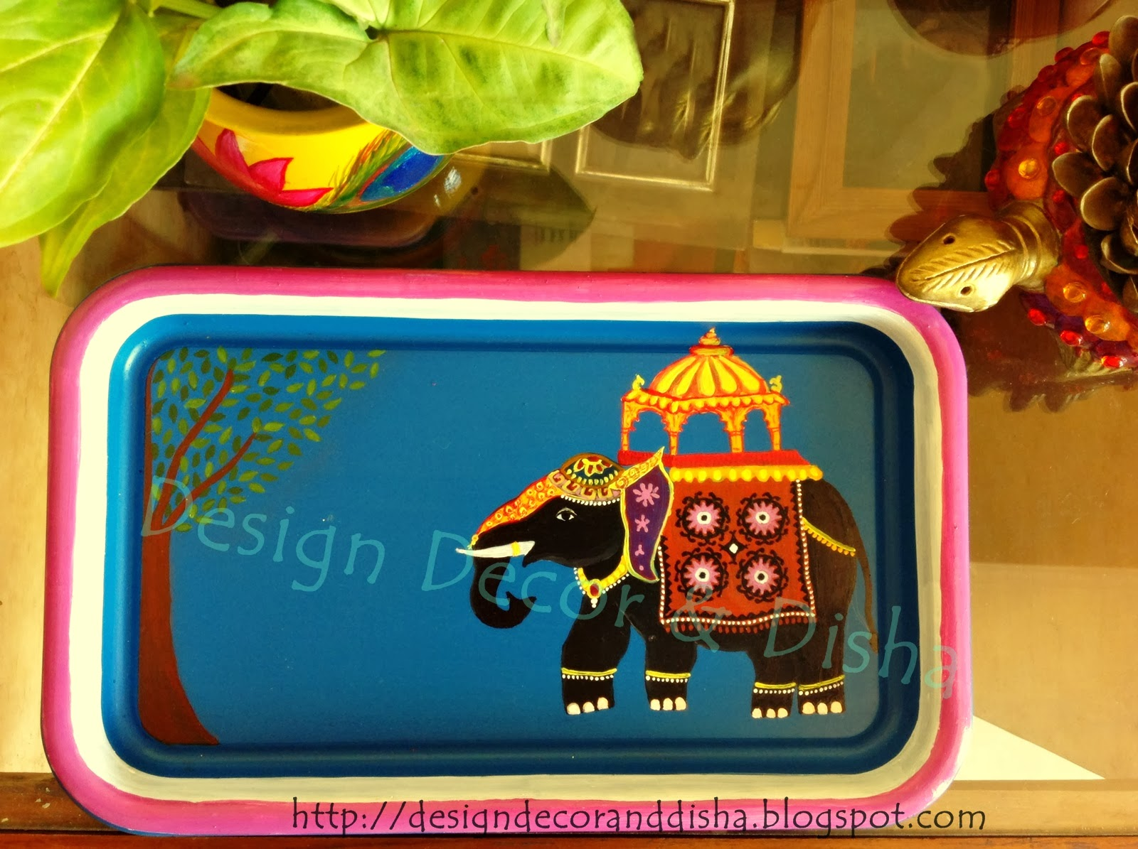 Suzani Elephant Hand Painted Tray