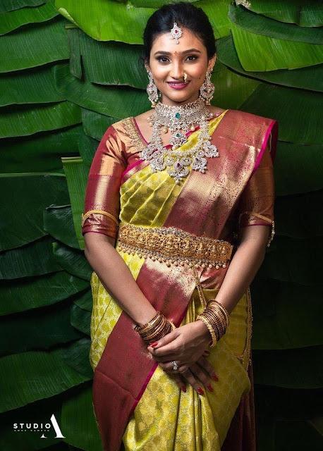 Bride in Diamond Astalaxmi Vaddanam