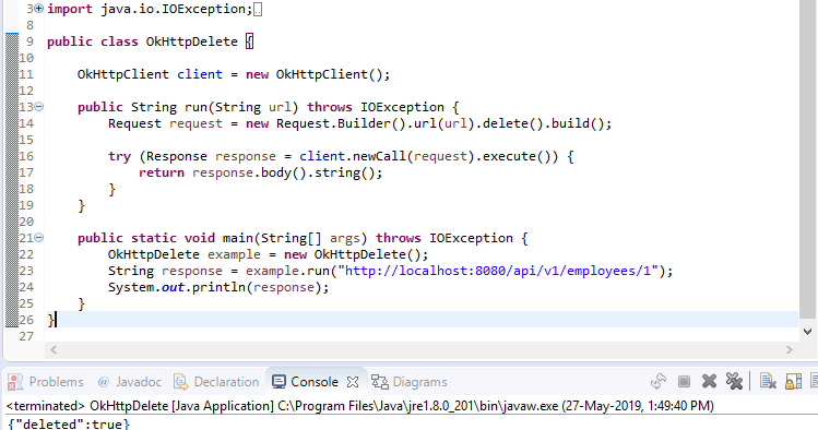 OkHttp DELETE Request Java Example