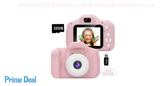 40%OFF Kids Camera,Mini Rechargeable Childrens Digital Camera Shockproof
