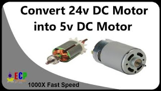 How to convert 24v dc motor into 5v high speed dc motor