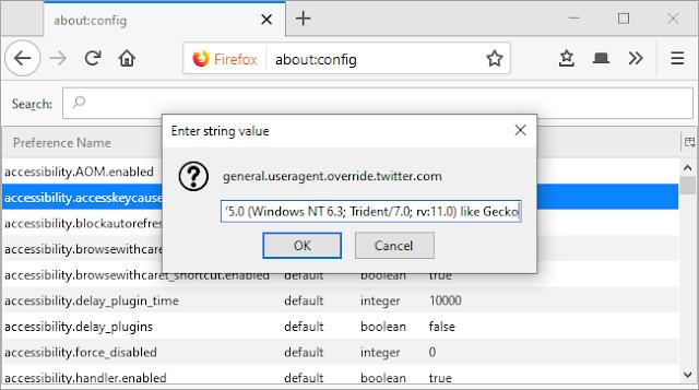 خداع Twitter في التفكير في أنك تستخدم Internet Explorer 11 في Firefox