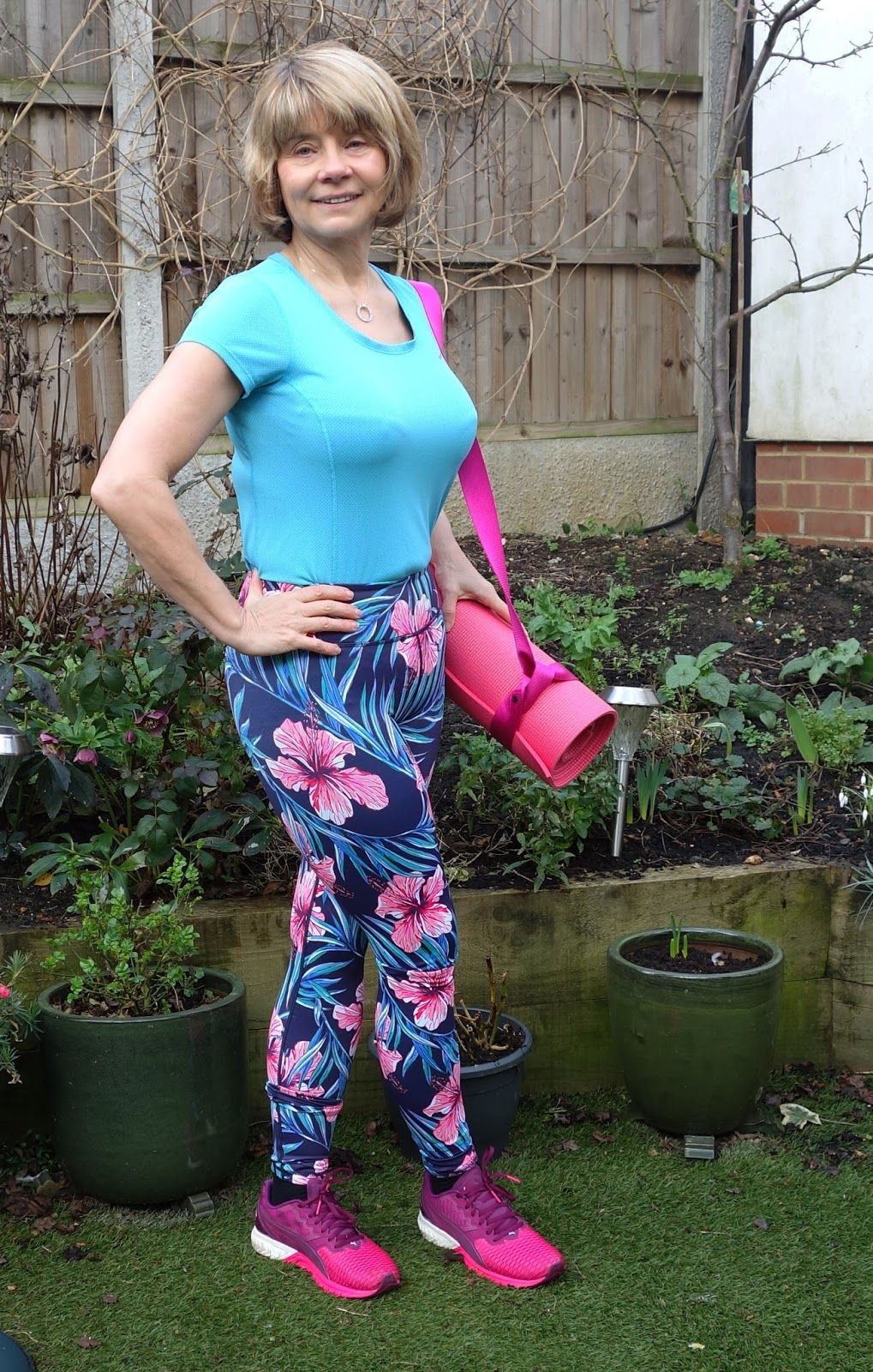 Hibiscus leggings by Yoga Leggs worn with Puma trainers