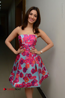 Actress Tamanna Latest Images in Floral Short Dress at Okkadochadu Movie Promotions  0049.JPG