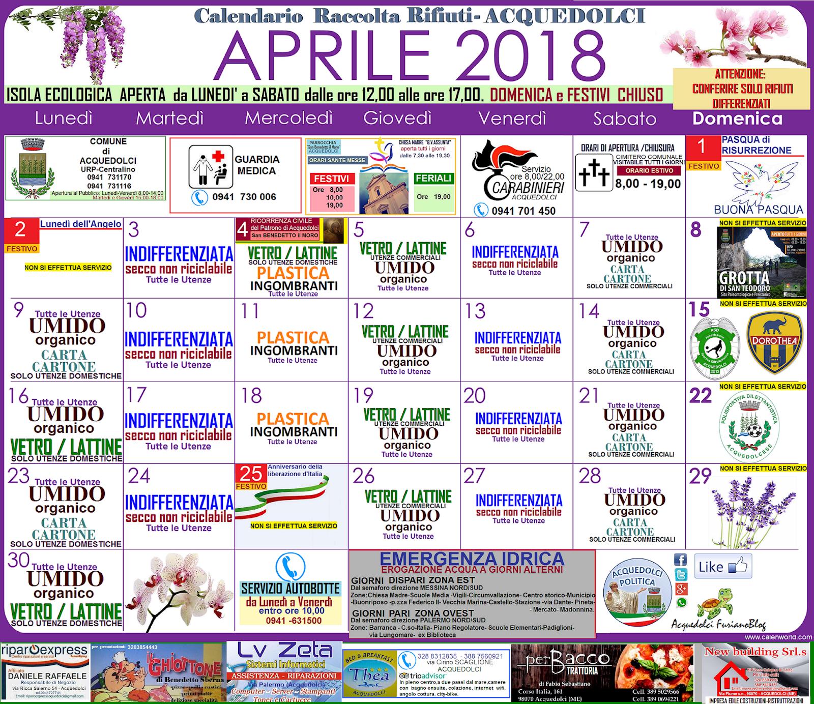 Calendario Raccolta Differenziata Sanremo.Rifiuti Il Calendario Di Aprile 2018 E La Guida Per I