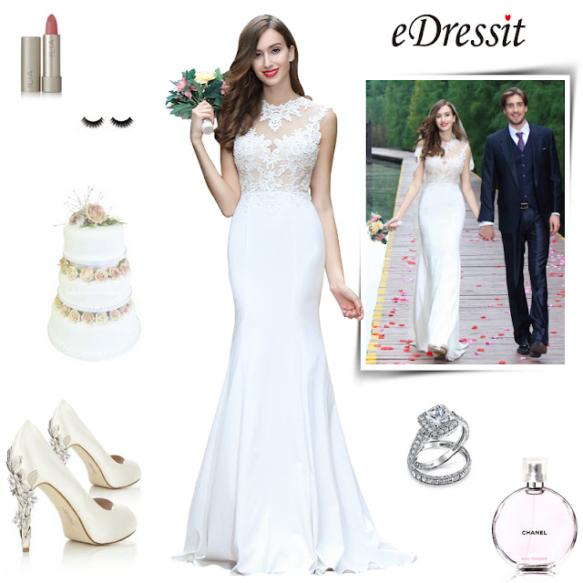eDressit sleeveless white lace appliques bridal gown