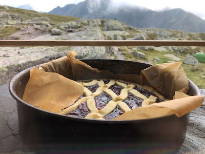 A fresh baked dessert cooling off on the windowsill at Rifugio Benigni.
