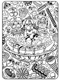 Mandala perritos dulces para colorear - Dibujos relajantes para adultos
