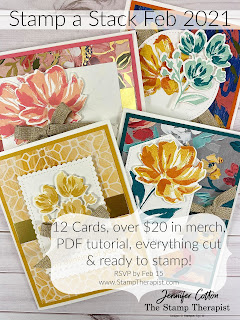 Join the Stamp a Stack Club: 12 cards, $30, includes $20 in merch!!  This month: Art Gallery Bundle by Stampin' Up!®.  #StampinUp #StampTherapist #ArtGallery