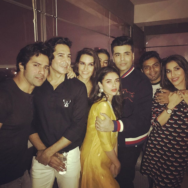 Varun Dhawan, Aditi Rao Hydari, and Karan Johar at Neha Dhupia's Birthday Bash